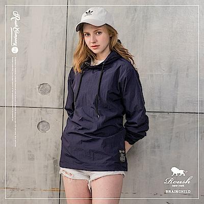 Roush 女生over size內裡網布防風帽T(3色)