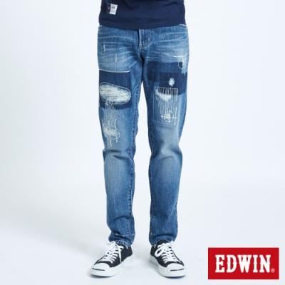 EDWIN BLUE TRIP 拼貼破壞AB牛仔褲-男-石洗藍