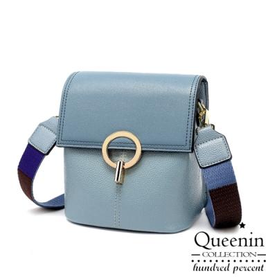 DF Queenin日韓 - 韓版撞色背帶復古多功能小方包斜背包-共2色