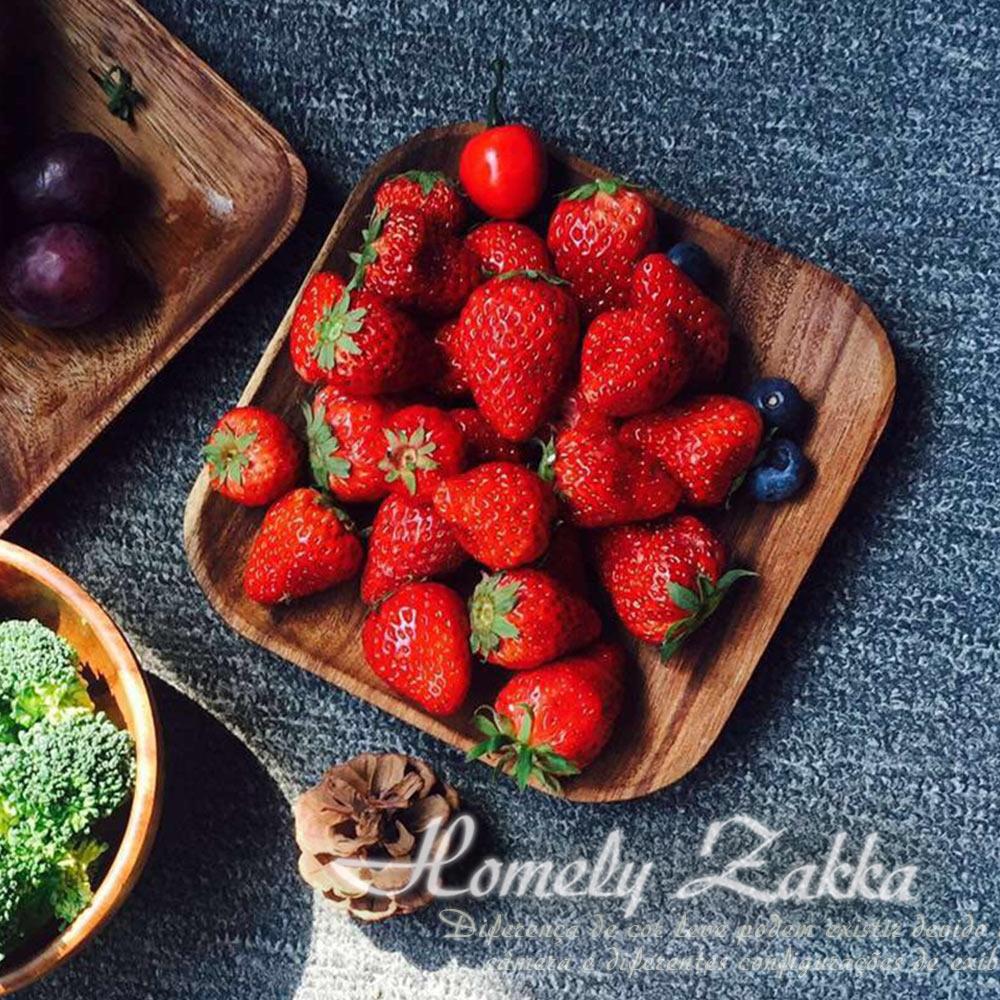Homely Zakka 木趣食光和風相思木16cm方淺盤/輕食點心盤
