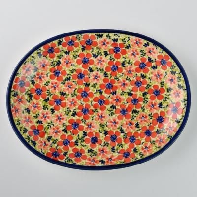 波蘭陶 繁花艷野系列 橢圓形餐盤 29cm 波蘭手工製