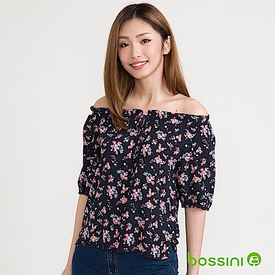 bossini女裝-五分袖印花罩衫海軍藍