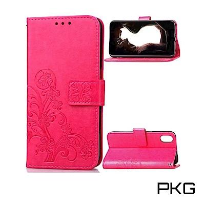 PKG Apple iPhone XR 側翻式皮套-精選皮套系列-幸運草-玫紅