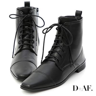 D+AF 復古有型.小方頭綁帶低跟短靴*黑