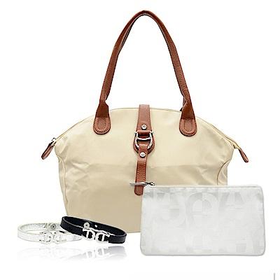 Aigner 愛格納 福袋組 PICO 素色尼龍長柄提包+白色緹花化妝包+小牛皮手環