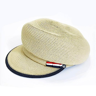 ELLE法式浪漫報僮帽休閒百搭遮陽布帽_卡其