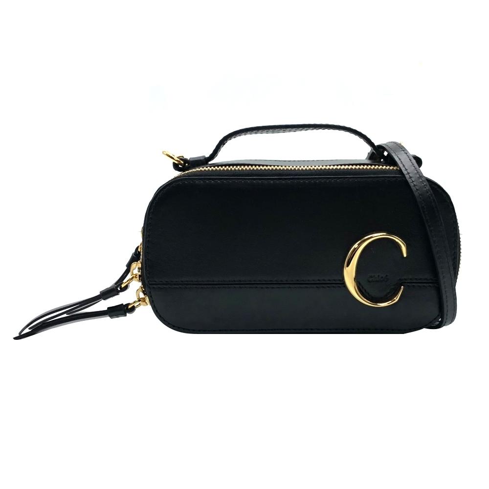 CHLOE C Mini Vanity Bag 牛皮 手提/斜背二用包(黑)