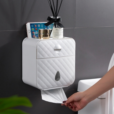 木暉 時尚壁掛式抽屜雙抽口防水紙巾盒(免釘免鑽孔)-4入