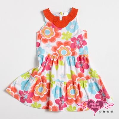 【天使霓裳-童裝】柔美花色 可愛無袖小洋裝(橘)