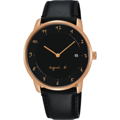 agnes b. 法國時尚簡約手錶(BS9006J1)-白x金框x黑/38mm