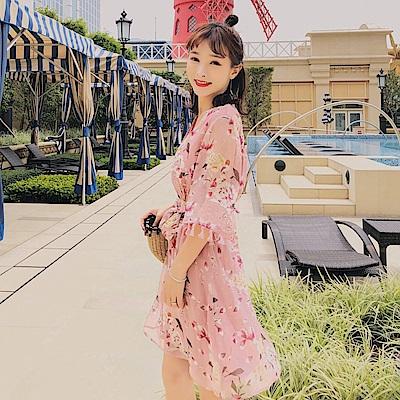 DABI 韓系收腰流蘇喇叭袖修身高腰雪紡系帶短袖洋裝