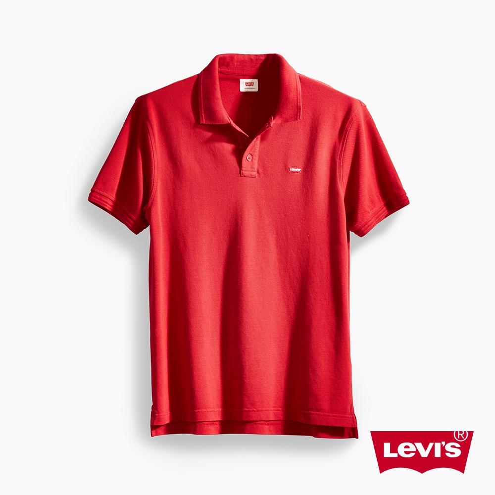 Levis 男款 短袖Polo衫 迷你刺繡Logo徽章 紅