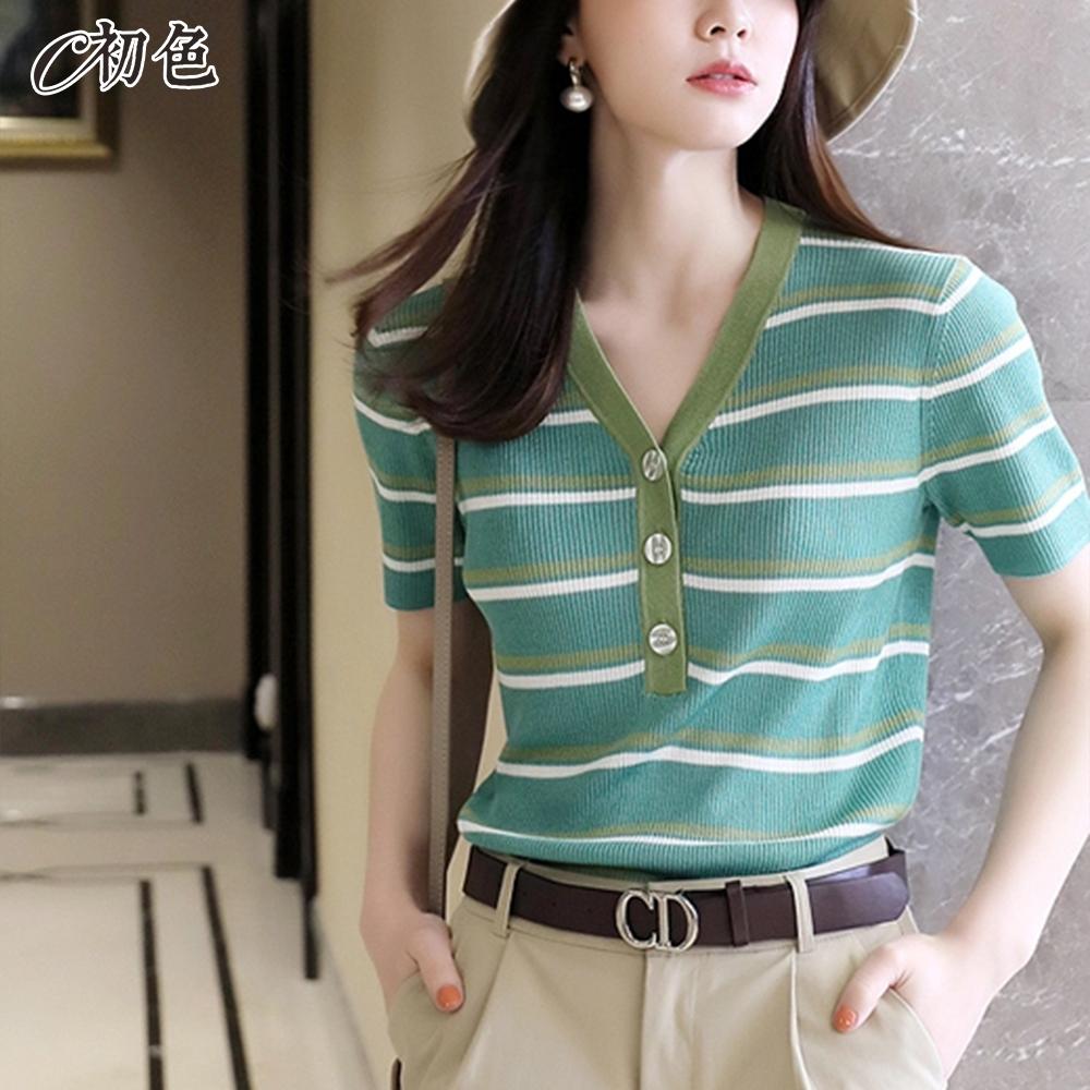 初色  V領條紋休閒針織衫-共2色-(F可選)