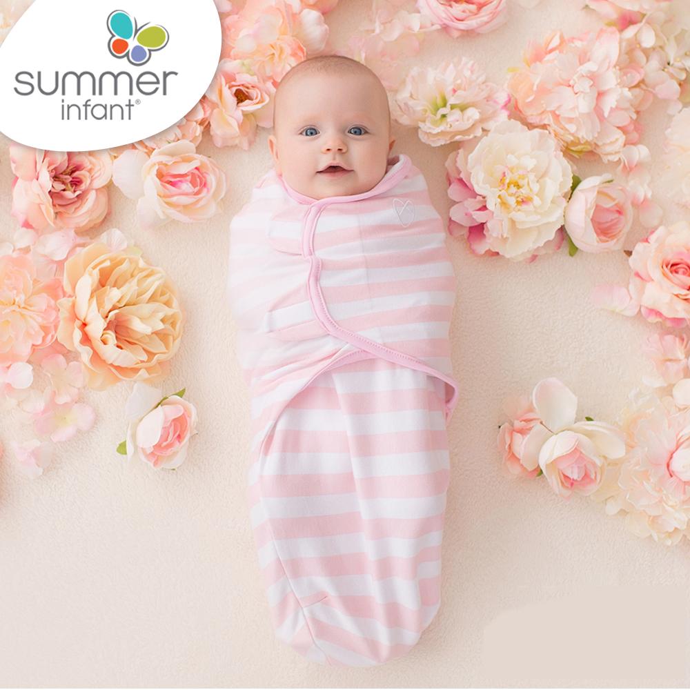 美國 Summer Infant 嬰兒包巾 懶人包巾薄款 -純棉S 粉嫩條紋