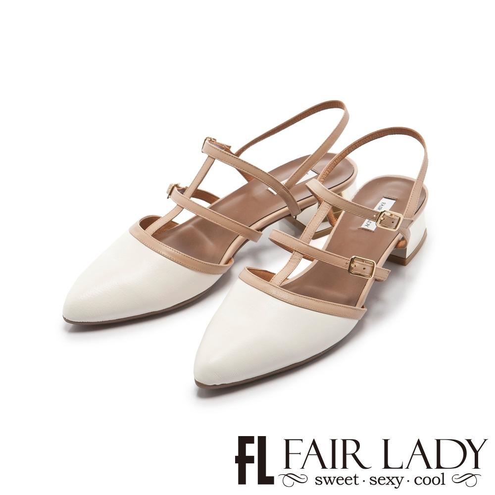 【FAIR LADY】優雅小姐Miss Elegant 魚骨造型繫帶尖頭低跟鞋 白