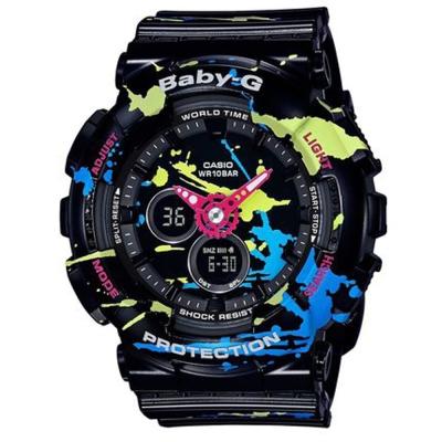 BABY-G街頭文化噴灑塗鴉藝術風格休閒錶(BA-120SPL-1A)黑/43.4mm