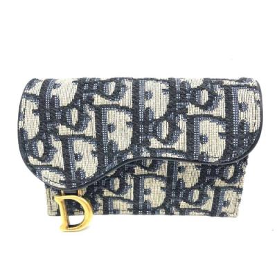 Dior Saddle系列經典OBLIQUE緹花布名片/信用卡包(藍色)