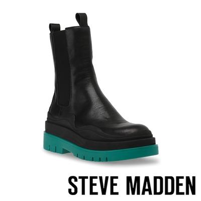STEVE MADDEN-CHALLENGER 拼接厚底高筒靴-黑色