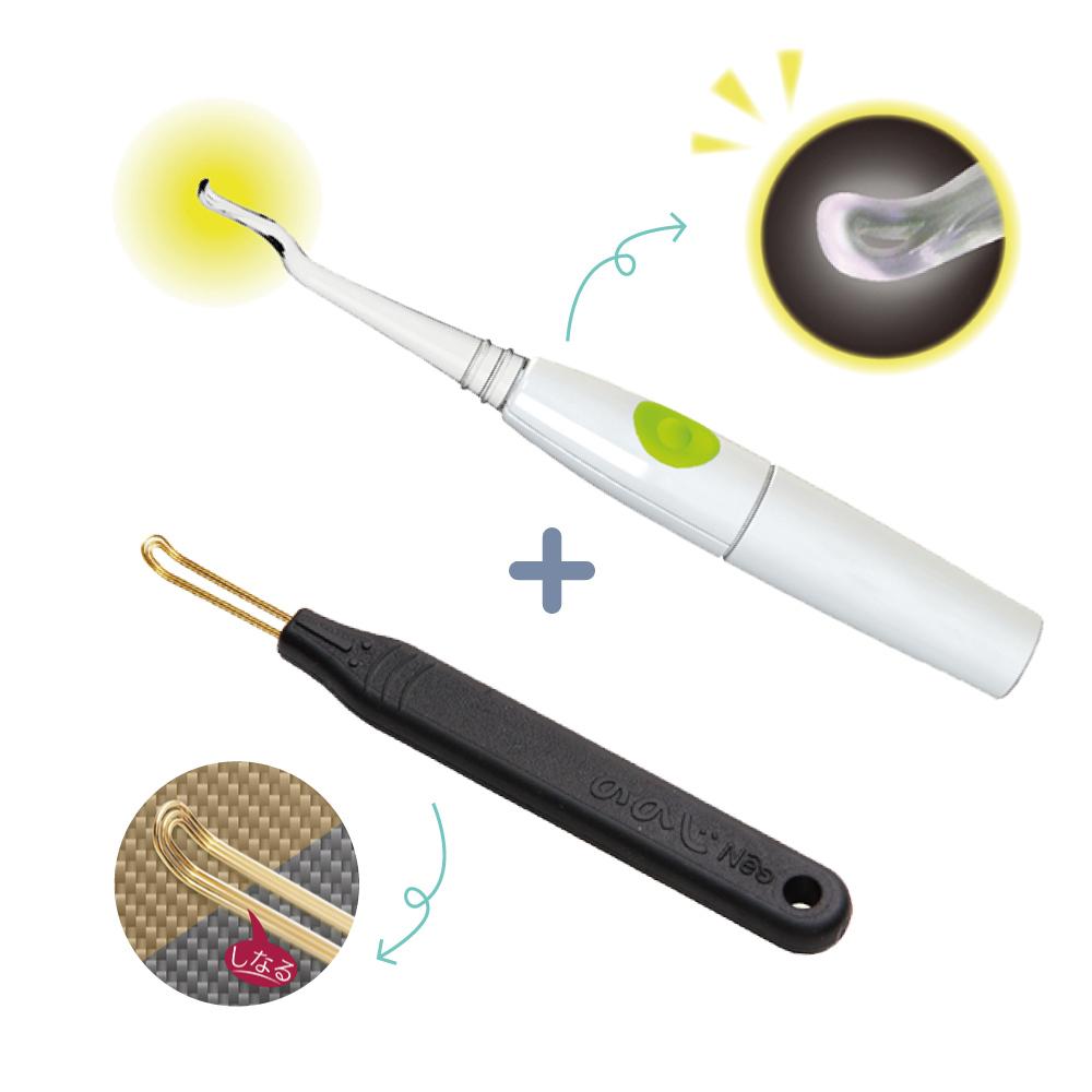 日本LEBEN-LED掏耳棒+日製掏耳棒NEO(黑)