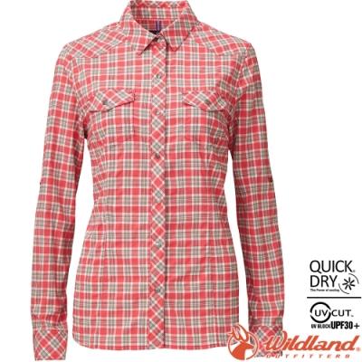 Wildland 荒野 0A81201-20玫瑰紅 女彈性格子長袖襯衫 抗UV/中層衣/登山休閒服/排汗衫/可當外套