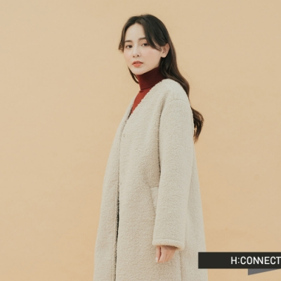 H:CONNECT 韓國品牌 女裝-毛呢造型長版外套-卡其