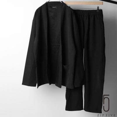 ZIP日本男裝 仿絨面革休閒無鈕扣罩衫&錐形褲套裝 2件組 (4色)