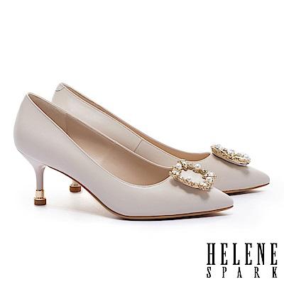 高跟鞋 HELENE SPARK 優雅奢華晶鑽珍珠方釦羊皮尖頭高跟鞋-米