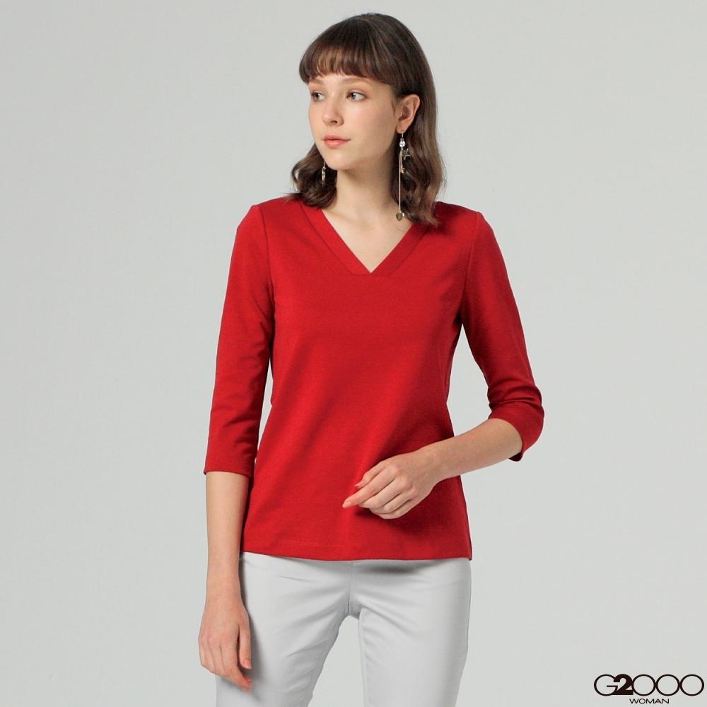 G2000素面長袖休閒T恤-紅色