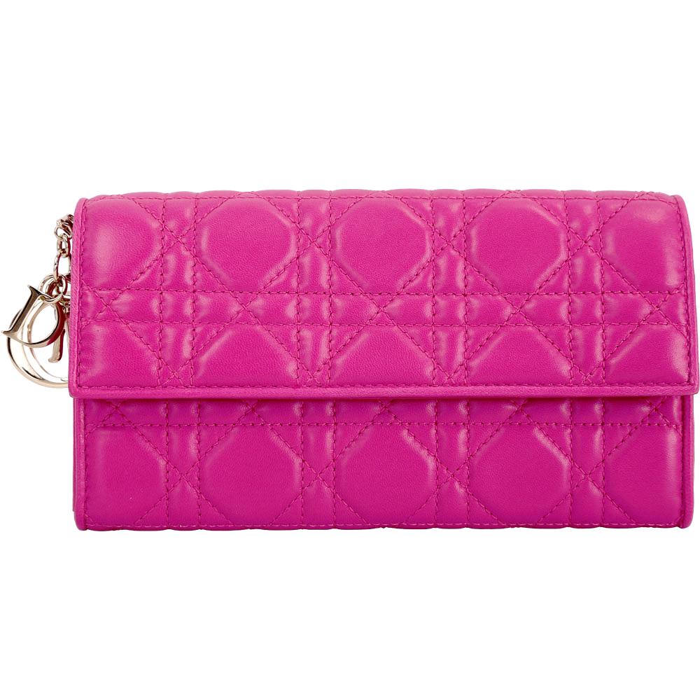 Dior Lady Dior 附金屬吊飾籐格紋小羊皮長夾(桃紅色)