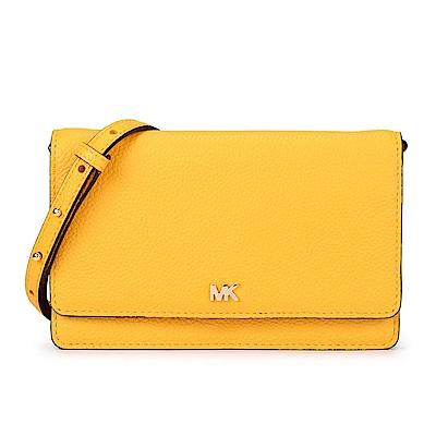 MICHAEL KORS 素面荔枝紋皮革翻蓋手機/斜背包-向日葵黃色