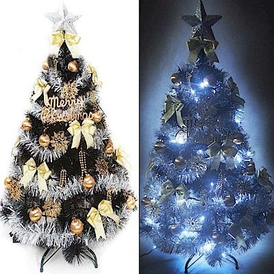 摩達客 6尺特級黑色松針葉聖誕樹(金銀系配件)+100燈LED燈白光2串(附控制器跳機)