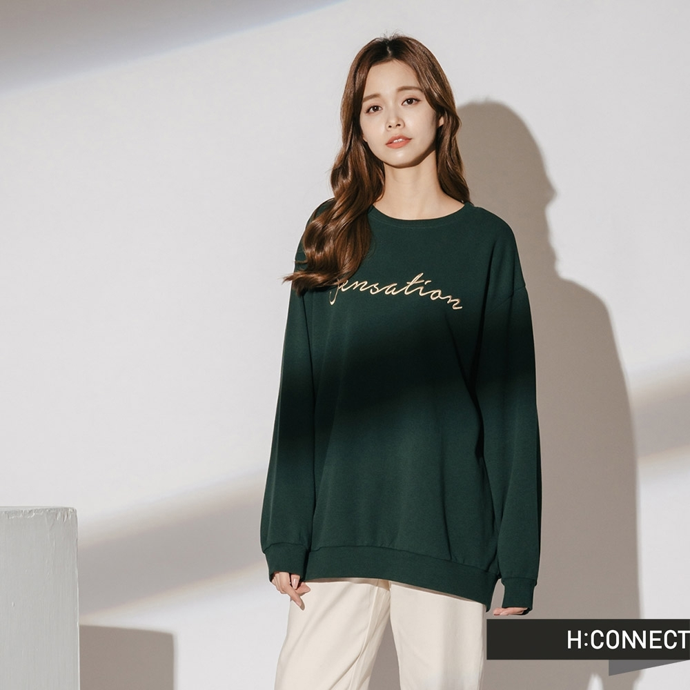 H:CONNECT 韓國品牌 女裝-休閒印字落肩大學T-綠