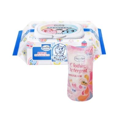 限定貝恩Baan嬰兒保養柔濕巾80抽24入+貝恩嬰兒抗菌洗衣精補充包800ML(單包)