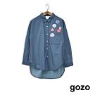 gozo-相機貼布繡丹寧襯衫-深藍