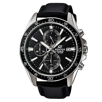 EDIFICE 經典三針三圈設計視距儀賽車皮帶錶(EFR-546L-1)-黑X黑面/47
