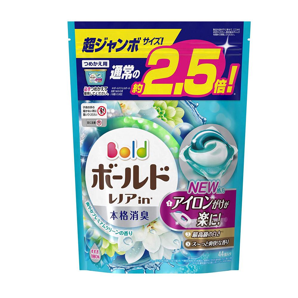 日本P&G 3D立體2.5倍洗衣果凍膠囊補充包-清爽花香(44顆入)