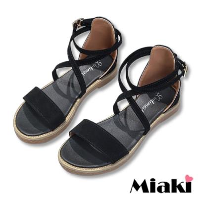Miaki-涼鞋一字韓式細帶平底鞋-黑