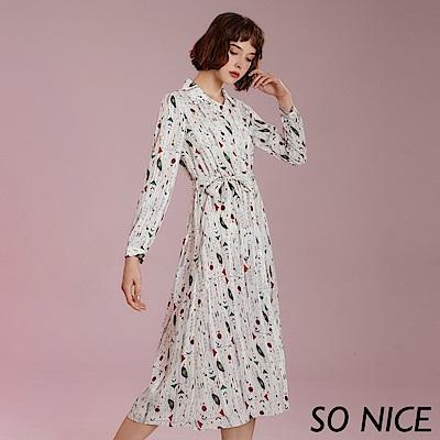 SO NICE休閒民俗印花襯衫式洋裝
