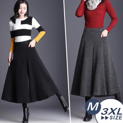 【LANNI 藍尼】中大尺碼毛呢不挑身褲裙(M-3XL)