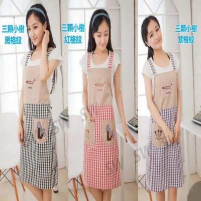 BD005 圍裙 格紋布藝圍裙吊帶式圍裙 韓版無袖肩帶式 家居圍裙
