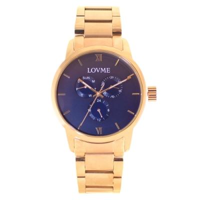 LOVME 紳士質感不鏽鋼三眼手錶-IP玫x寶藍/43mm