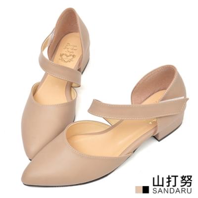 山打努SANDARU-尖頭鞋 優雅斜帶魔鬼氈低跟鞋