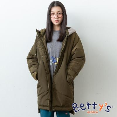 betty's貝蒂思 帽子拼接寬版鋪棉大衣(深綠)