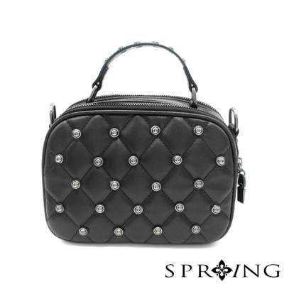 SPRING-鉚釘方格包 經典黑