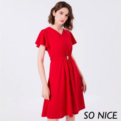 SO NICE時尚金屬腰釦抓皺造型洋裝