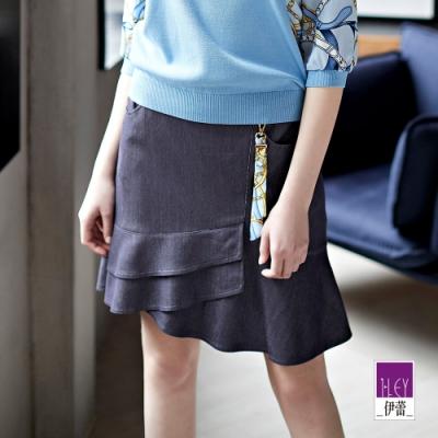 ILEY伊蕾 經典絲巾純色彈性仿丹寧褲裙(藍)