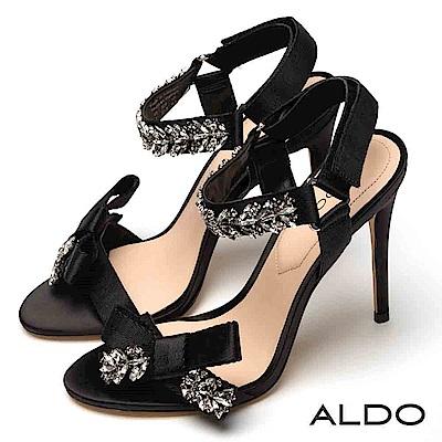 ALDO 原色緞面蝴蝶結璀璨水鑽魔鬼氈細高跟涼鞋~典雅黑色