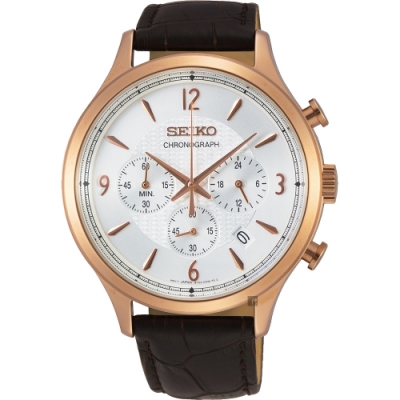 SEIKO精工 CS 紳士型男款計時手錶(SSB342P1)-銀x玫金框43.3mm