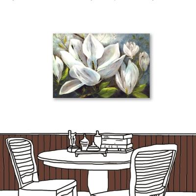 24mama掛畫-單聯式 藝術裝飾 白色花卉 油畫風無框畫 60X40cm-冬夜白花1