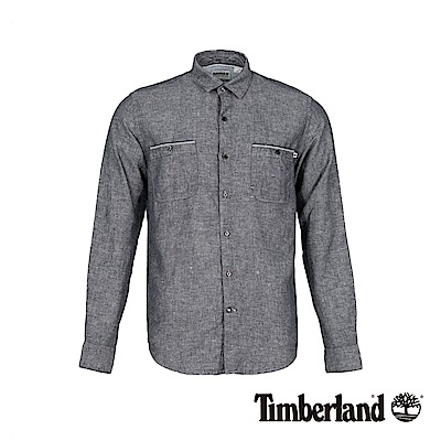 Timberland 男款暗灰色修身亞麻收納式長袖襯衫|A1WRC
